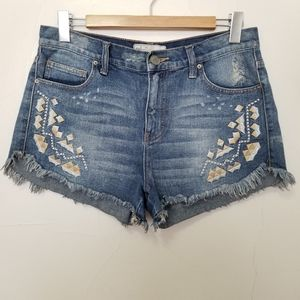 Free people size 27 embroidered denim shorts
